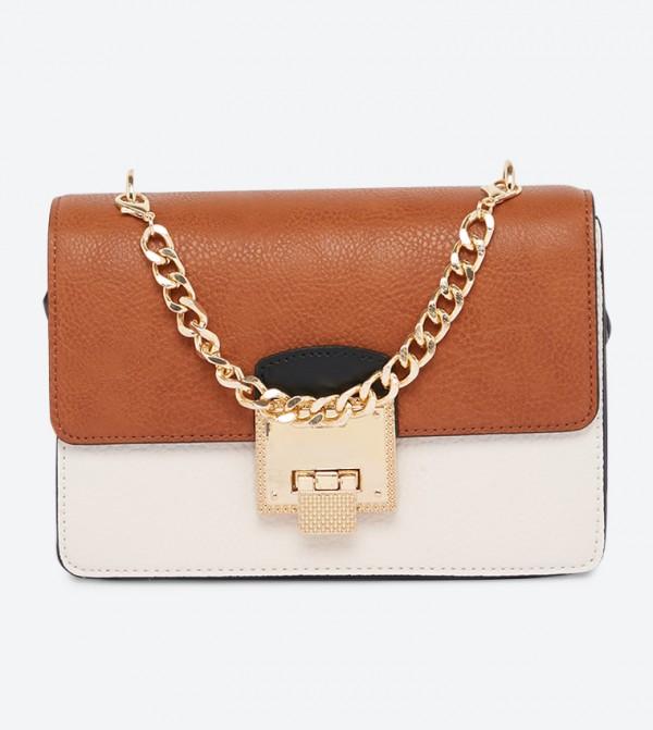 Viktoriya Zipper Pocket Stylish Sling Bag - Sand