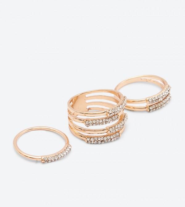 Rhinestones Embellished Vioviel Rings Set (3 Pcs) - Gold