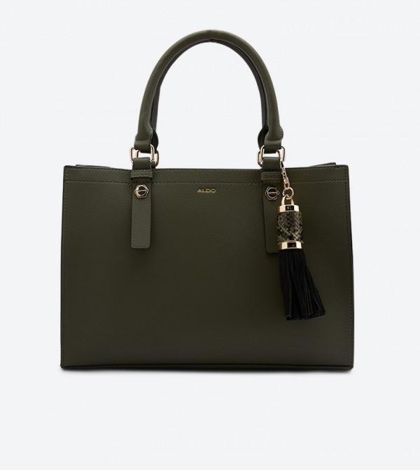 Tassel Detail Zenawien Tote Bag - Dark Green