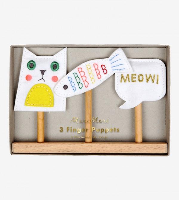 Cat Finger Puppets Set (3 Pcs) - White