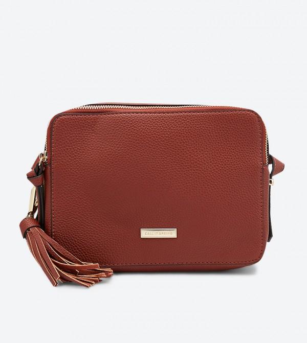 حقيبة كروس بودي بروما مزينة بشراشيب أمامية لون بني