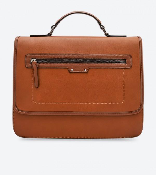 حقيبة لابتوب بلون عسلي