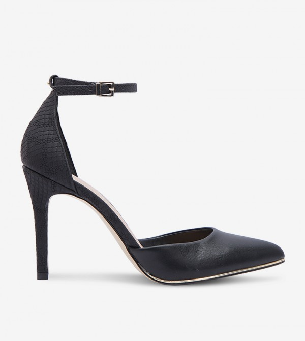 Ankle Strap High Heel Pumps - Black 30ICONISS