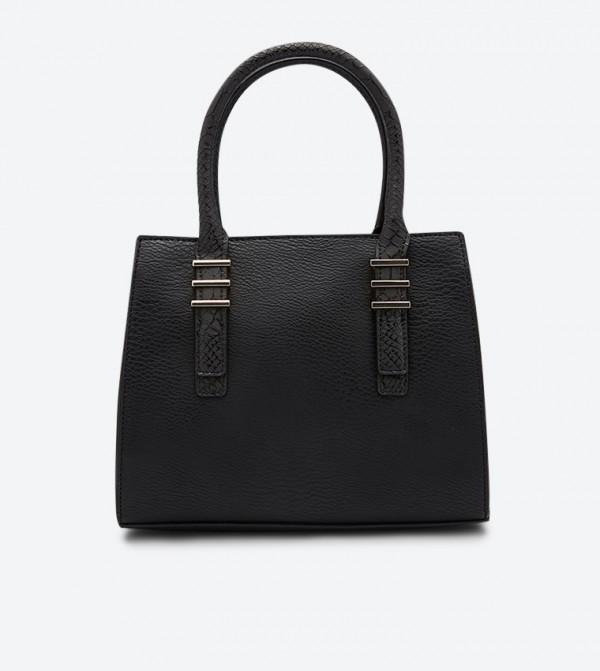 حقيبة يد بمقبضين علويين وسحاب للإغلاق لون أسود
