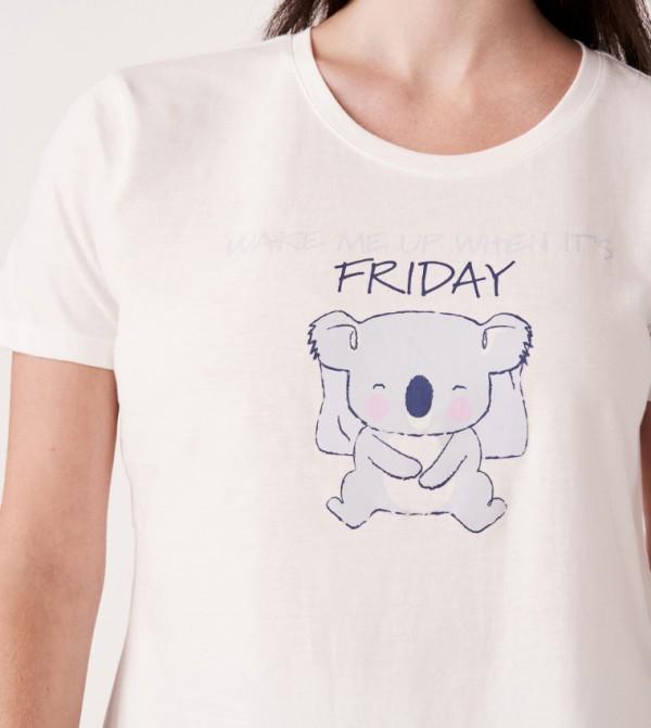 Scoop Neckline T-shirt Elastic Waistband Capri - Blue