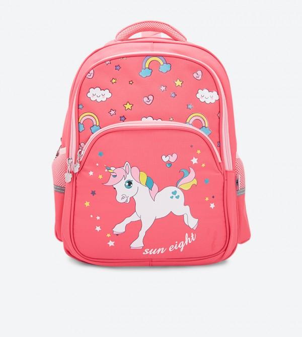 Unicorn Printed Zip Closure Backpack - Pink