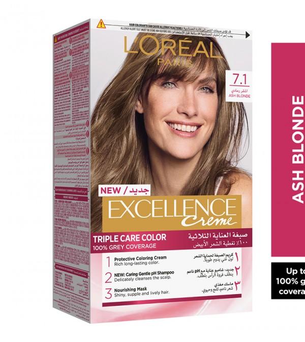 L'Oreal Paris Excellence Crème Permanent Hair Color, 7.1 Ash Blonde