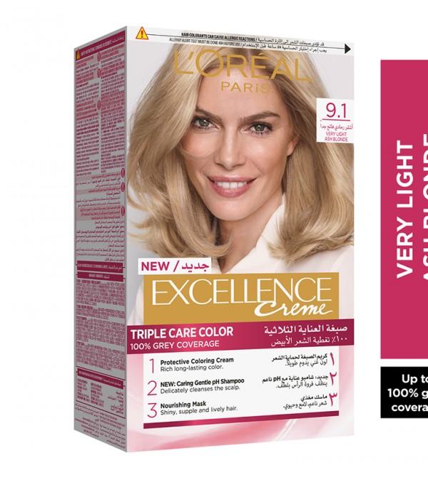 L'Oreal Paris Excellence Crème Permanent Hair Color, 9.1 Very Light Ash Blonde