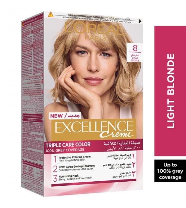 L'Oreal Paris Excellence Crème Permanent Hair Color, 8.0 Light Blonde