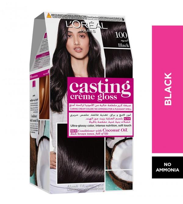L'Oreal Paris Casting Crème Gloss No Ammonia Hair Color for shiny hair 100 Black