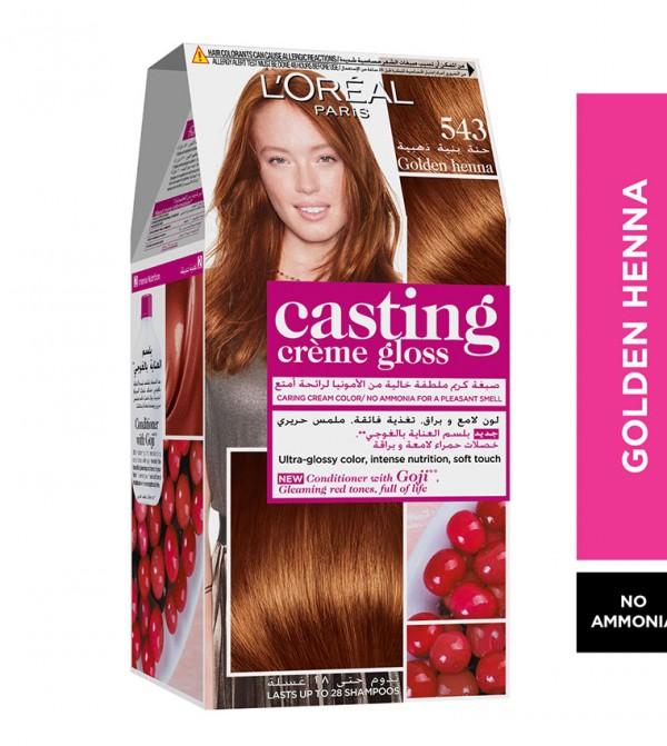 L'Oreal Paris Casting Crème Gloss No Ammonia Hair Color for shiny hair 543 Golden Henna