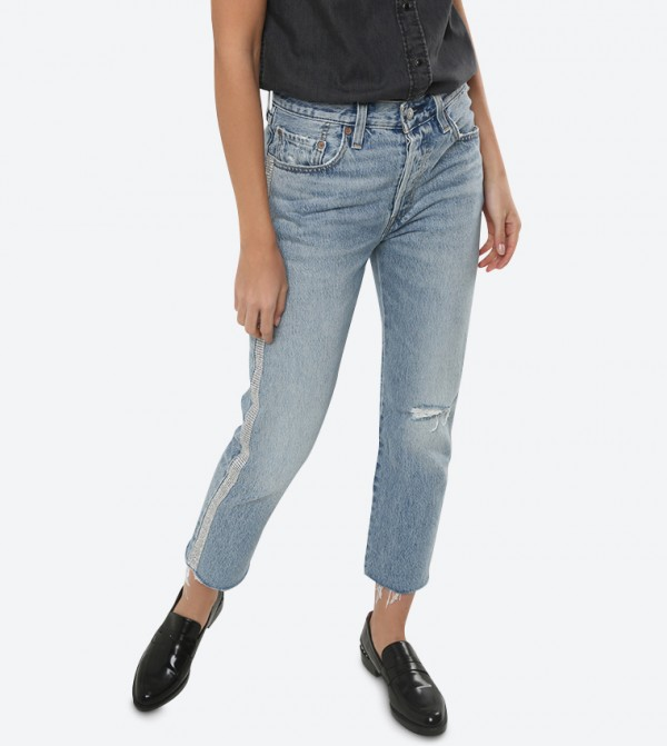 501 Crop Diamond In The Rough Jeans - Blue 362000035