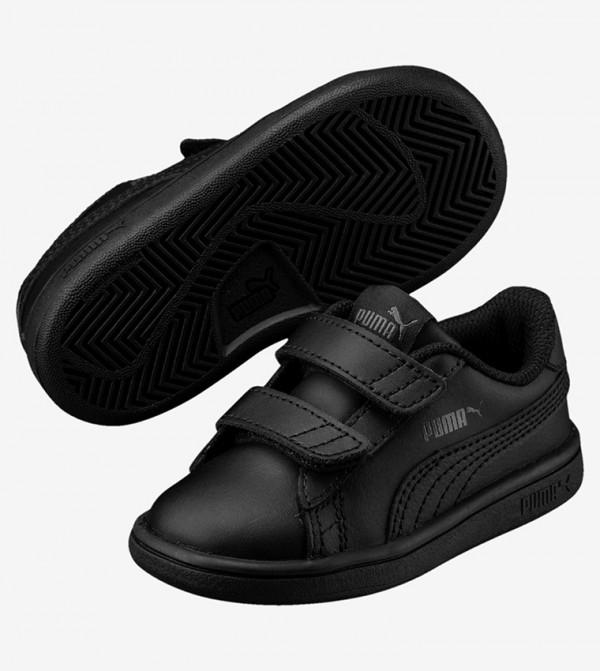 Solid Velcro-Closure Sneakers - Black