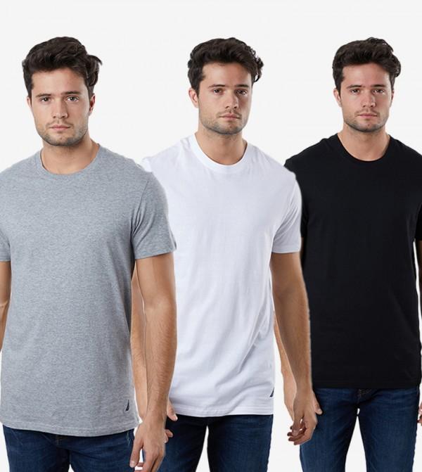 Short Sleeve Round Neck 3Pk T-Shirt - Multi