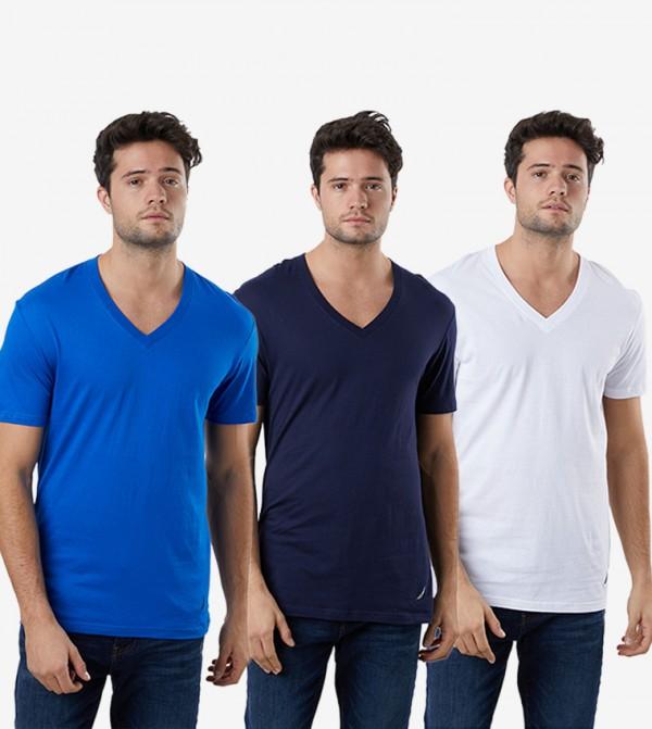 Short Sleeve V-Neck 3Pk T-Shirt - Multi