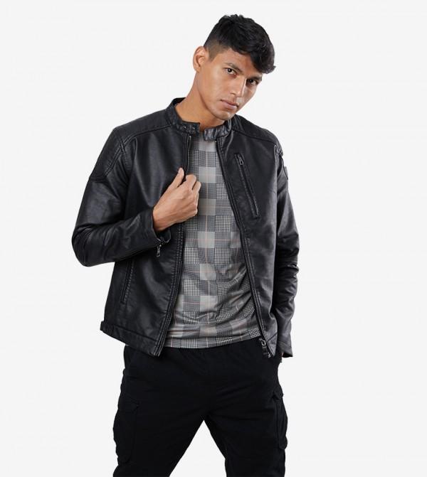Long Sleeve Zip Closure High Neck Jacket - Black