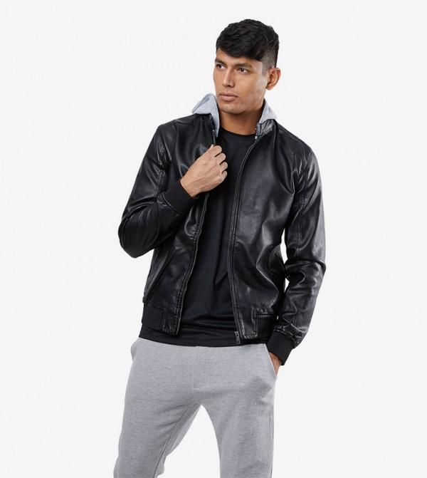 Long Sleeve Zip Closure Hooded Jacket - Black