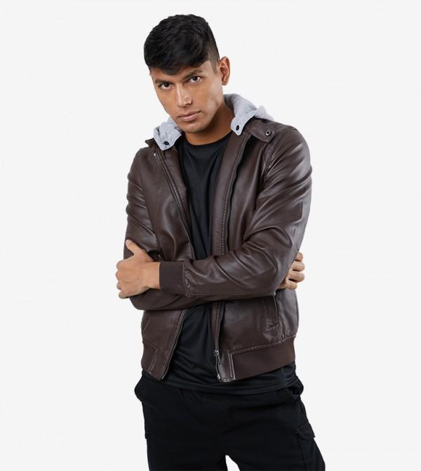 Long Sleeve Zip Closure Hooded Jacket - Brown