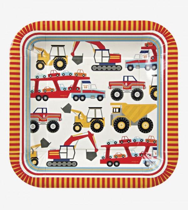 طقم أطباق مربعة الشكل بتصميم عربات ( 12 قطعة ) متعدد الألوان