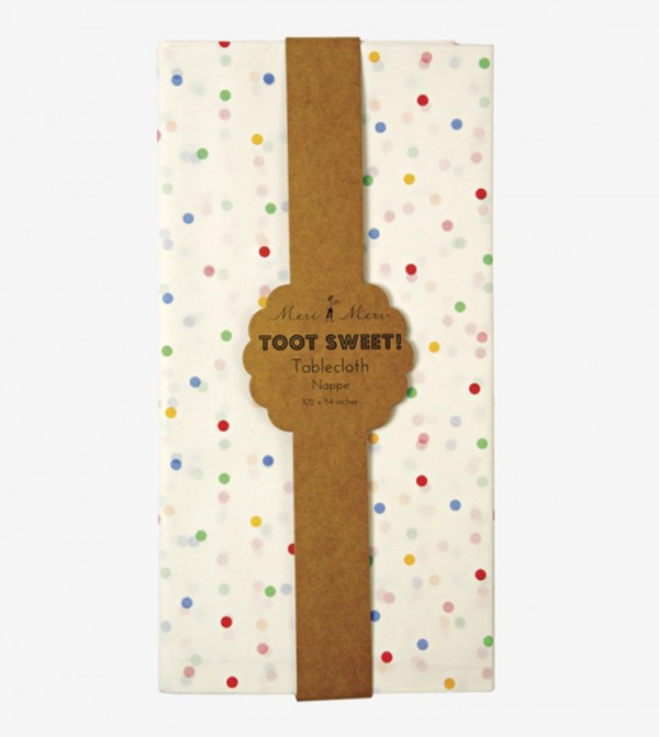 Toot Sweet Spotty Table Cover - White