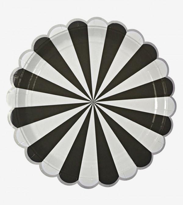 طقم أطباق كبيرة الحجم من مجموعة تووت سويت بتصميم مخطط ( 8 قطع ) لون أسود