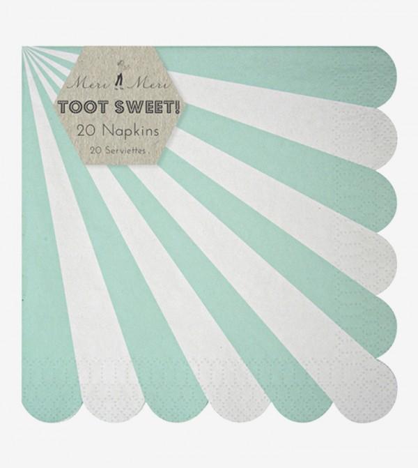 Toot Sweet Aqua Stripe Large Napkins Set (20 Pcs) - Green