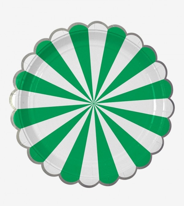Stripe Plates Large Set (8 Pcs) - Green