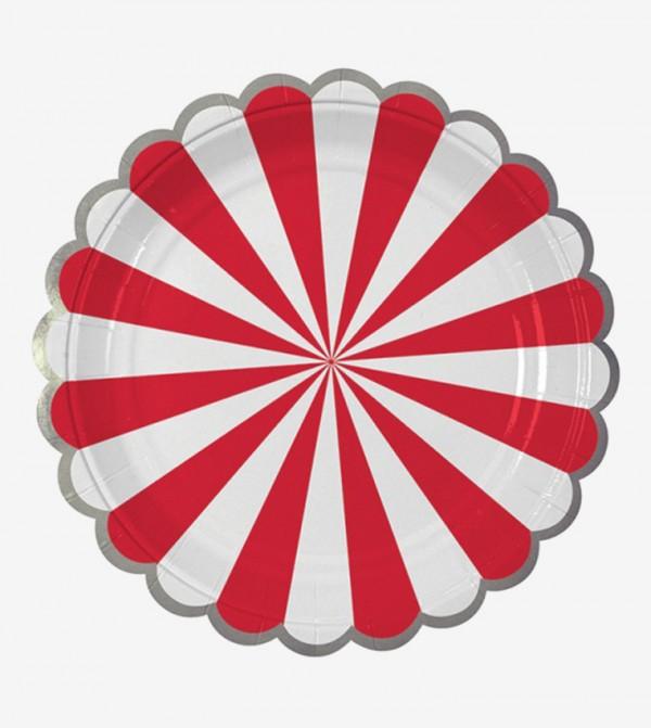 Stripe Plates Small Set (8 Pcs) - Red