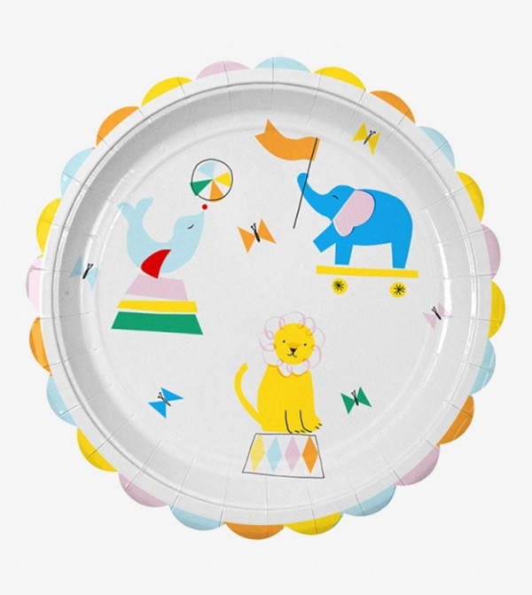 Silly Circus Large Plates Set (12 Pcs) - White