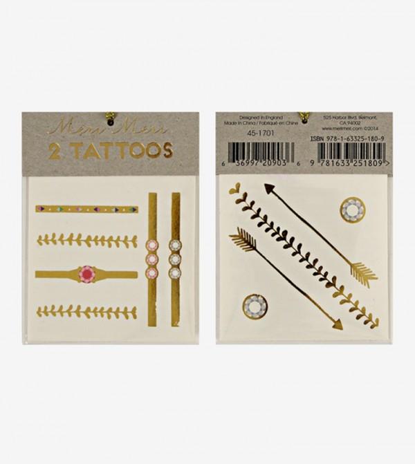 Jewellery Printed Tattoos Set (2 Pcs) - Gold