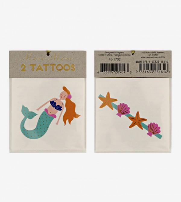 Mermaid And Sea Shells Tattoos Set (2 Pcs) - Multi