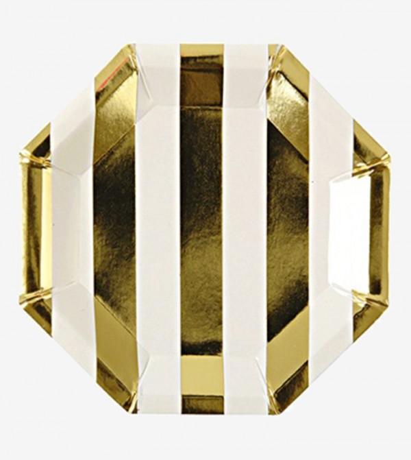 Stripe Canape Plates Set (8 Pcs) - Gold