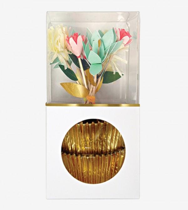 Flower Bouquet Cupcake Cases Kit Set (24 Pcs) - Gold