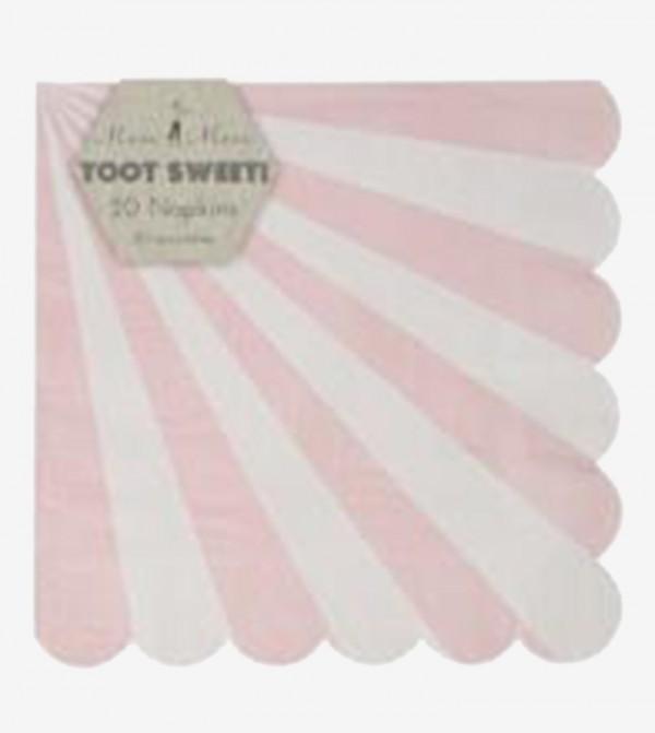 Dusty Striped Large Napkins Set (20 Pcs) - Pink