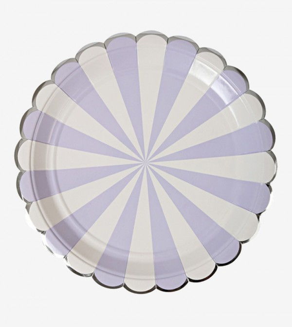 Lavender Striped Large Plates Set (8 Pcs) - Lavender