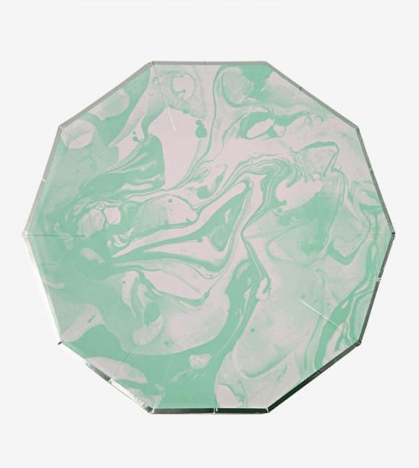 Marble Small Plates Set (8 Pcs) - Green
