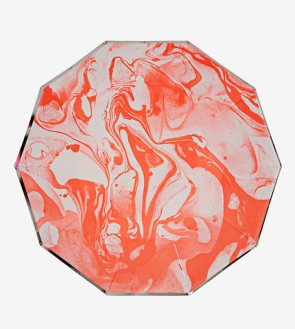 Marble Effect Small Plates Set (8 Pcs) - Orange