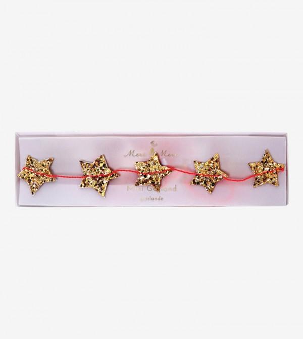 Mini Star Glitter Garland - Gold