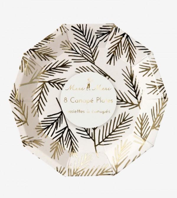 Pine Pattern Canape Plates Set (8 Pcs) - Light Pink