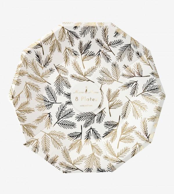 Pine Pattern Large Plates Set (8 Pcs) - Gold