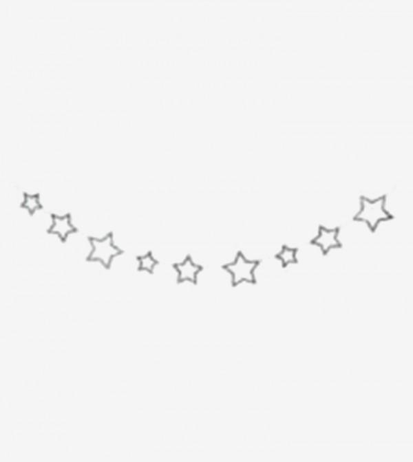 Chunky Glitter Stars Mini Garland - Silver