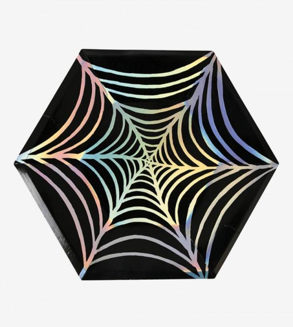 Large Foil Cobweb Plates Set (8 Pcs) - Black