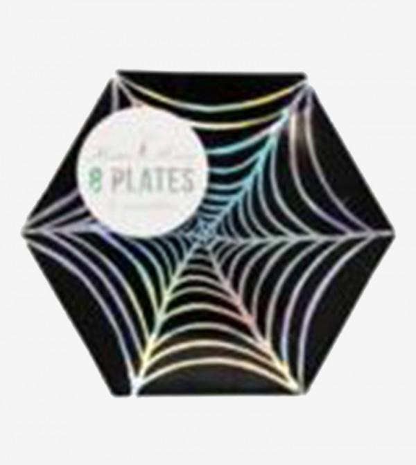 Foil Cobweb Canape Plates Set (8 Pcs) - Black