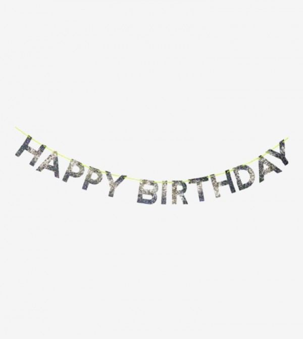 Happy Birthday Decorative Garland - Silver