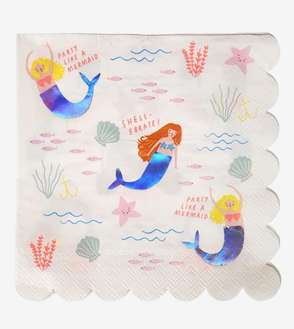 Let'S Be Mermaids Napkins Set (16 Pcs) - White