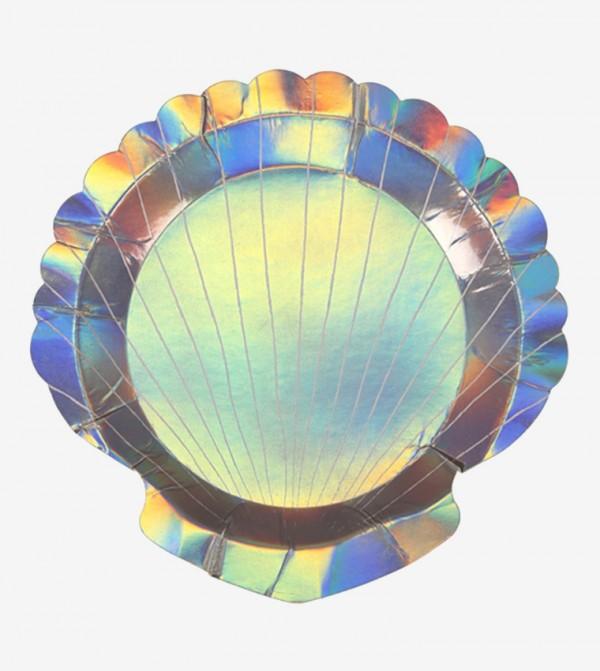 Small Shell Plates Set (8 Pcs) - Silver