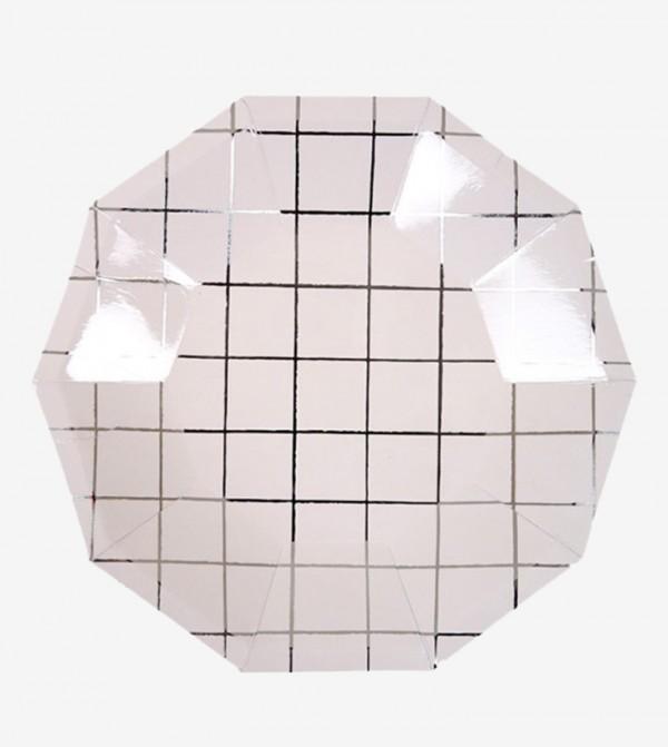 Large Grid Plates Set (8 Pcs) - White