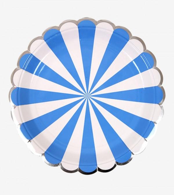 Striped Small Plates Set (8 Pcs) - Blue