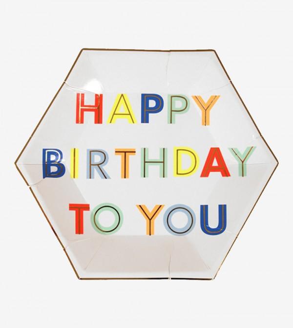 Happy Birthday To You Small Plates Set (8 Pcs) - White