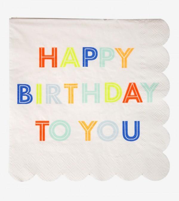Happy Birthday To You Small Napkins Set (20 Pcs) - White